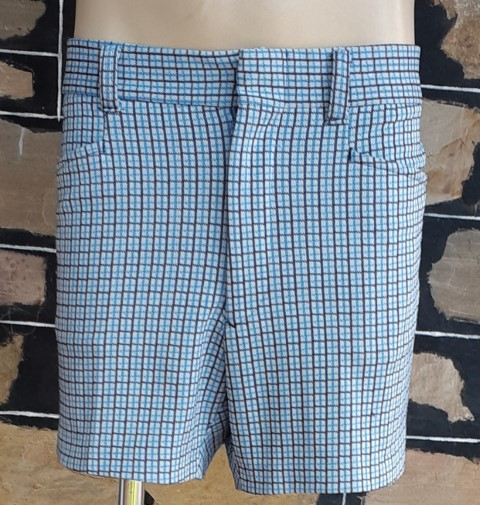 """1970's Blue Checked shorts, polyester, by 'KMart', size 38"""""""