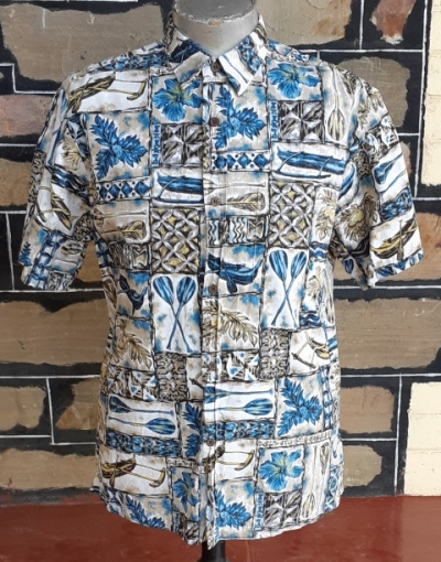 Hawiian Shirt, Canoe print, cotton, Made in Hawaii by 'Bishop St' size XL