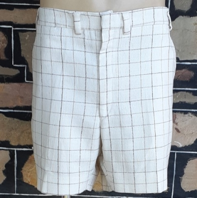 1970's Cream checked shorts, poly/ rayon/ linen, by 'Dale' size 41""