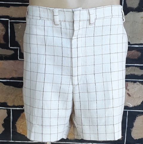 """1970's Cream checked shorts, poly/ rayon/ linen, by 'Dale' size 41"""""""