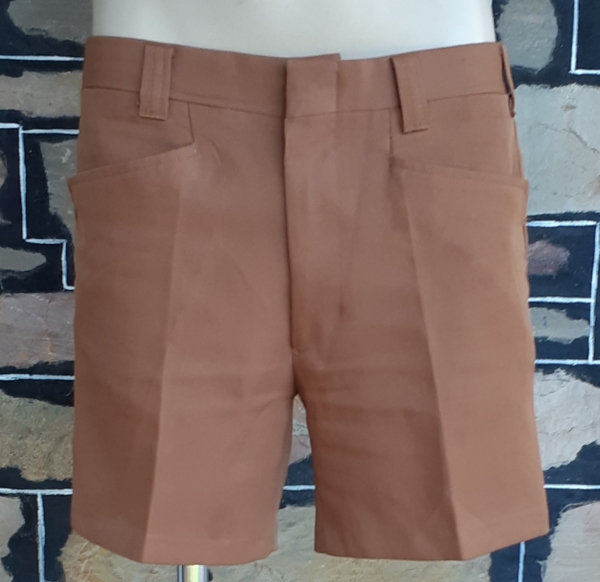 1970's Tan, woven polyester shorts, by 'Standex', size 33""