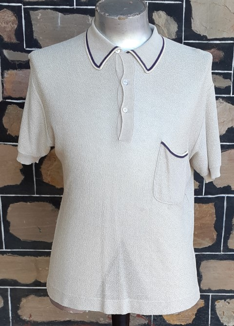 1970's Knitted polo top, poly/ viscose, biege, USA, by 'Dux', size L