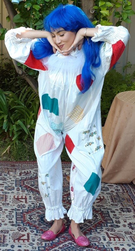 Vintage girls clown costume, cotton, includes long blue synthetic wig.