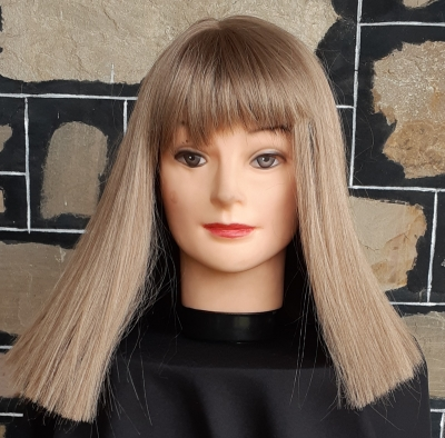 Costume Wig, Mid length, Strawberry Blonde with fringe, synthetic, ex-display model.