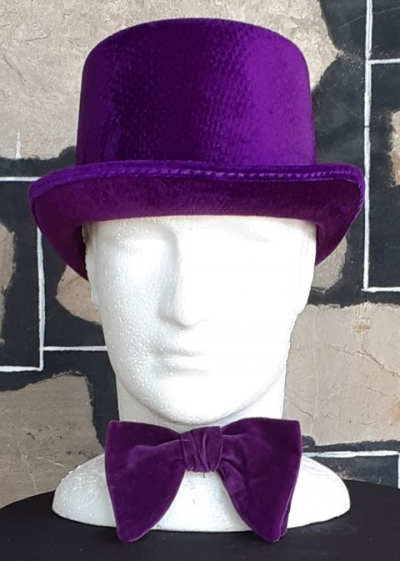 Costume Top Hat, synthetic and Velvet Bow-tie, 'Willie Wonker' inspired.