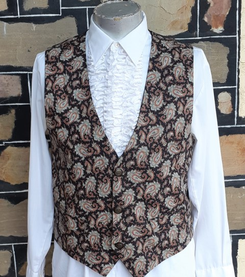 1960's Paisely Waistcoat, polyester/ cotton, Size L