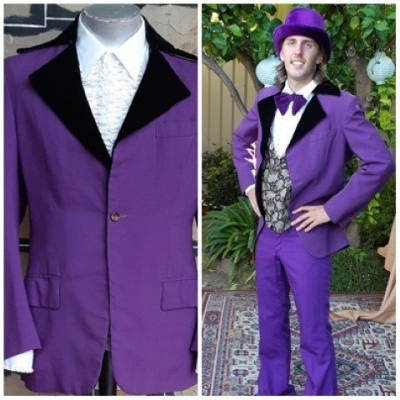 1960's, Purple Jacket, poly/cotton, by 'Top Tailoring of Adelaide', size L