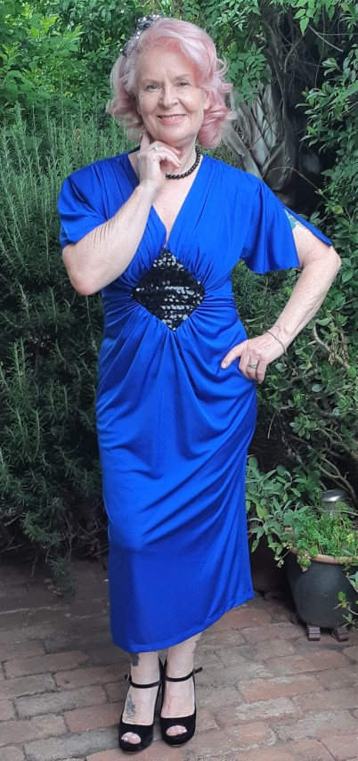 1980's Electric Blue cocktail dress by 'Purple Patch', polyester size 10-12
