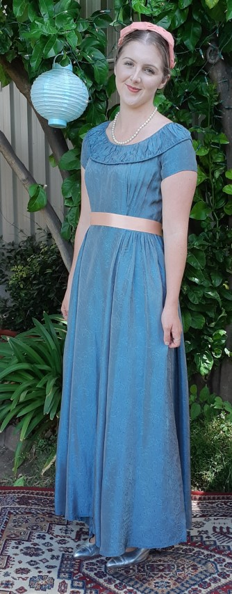 1940's Satin Damask Gown, green with apricot ribbon tie & headband, Size 10