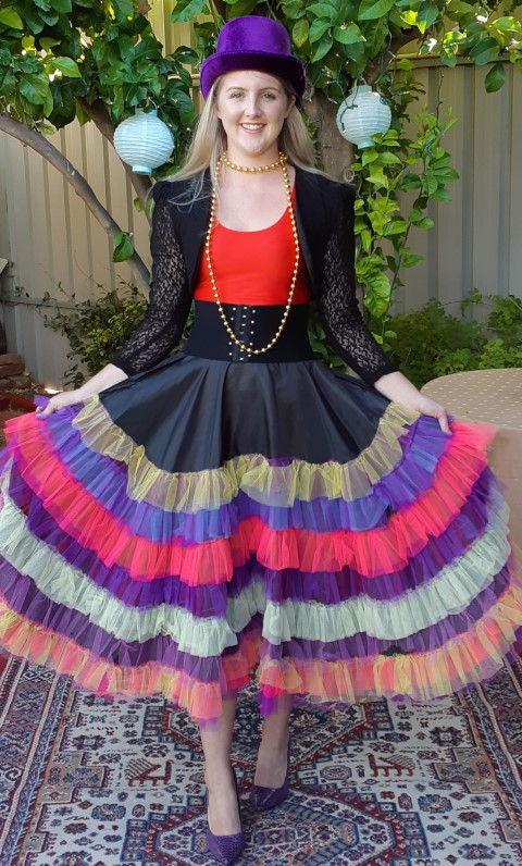 Show Girl Costume, Multi coloured, includes hat, crop top, jacket, skirt, belt & beads, Poly/ cotton, size 10