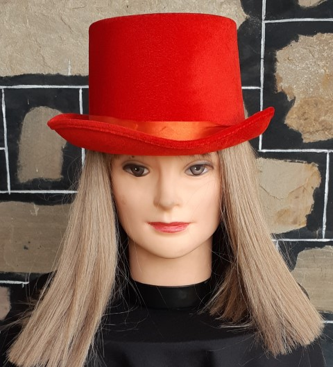 Top hat, Red, Paper Mache, one size