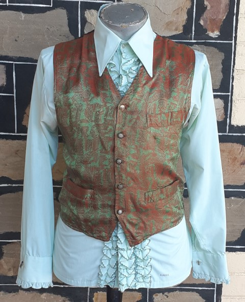 Waistcoat, 1970's, Olive/ rust damask, 100% rayon by 'Protest Blues' size L