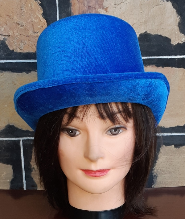 Top Hat, paper mache, electric blue, M-L
