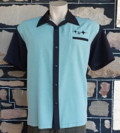 Bowling Shirt by 'Steady Clothing', 'Retro Rad and Ready', Mint/black, size L