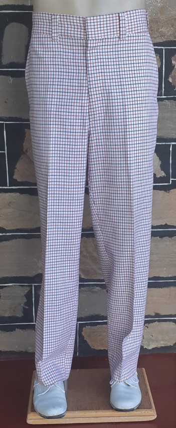 1960's 'Golf' pants, red/white/blue check, poly/ viscose, size 34""