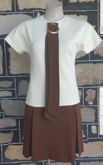 Mod Dress, 1960's, by 'Anna Kraemer', Cream/ Brown, crimplene, size 10