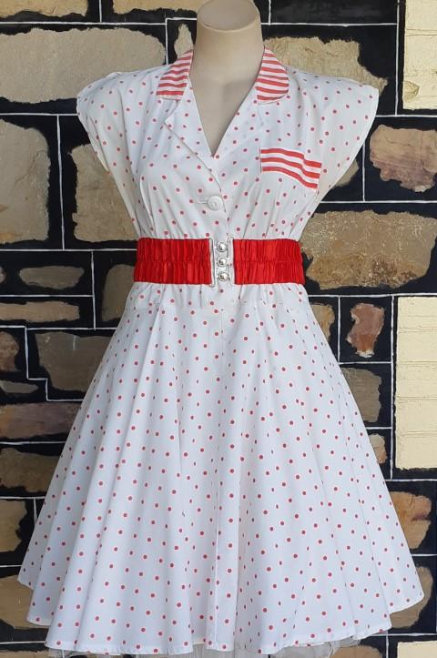 1980's Swing dress & elastic red belt,Polka-dot, red/white, cotton, & elastic red belt, size 14