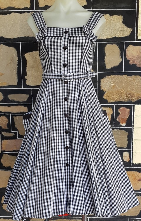 Gingham, black/white, swing dress, pre-loved, by 'Hell Bunny, cotton, size XS