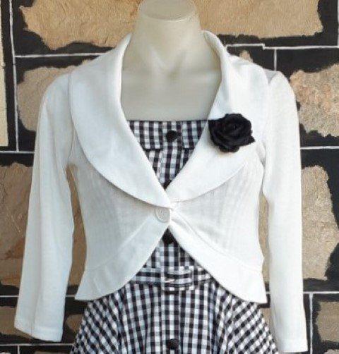 White Bolero, 3/4 sleeve, by 'Rock Steady', poly/rayon/spandex