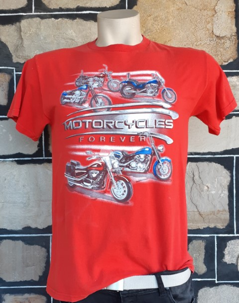 Vintage Tee, cotton, red, motorcycle print, USA, size M