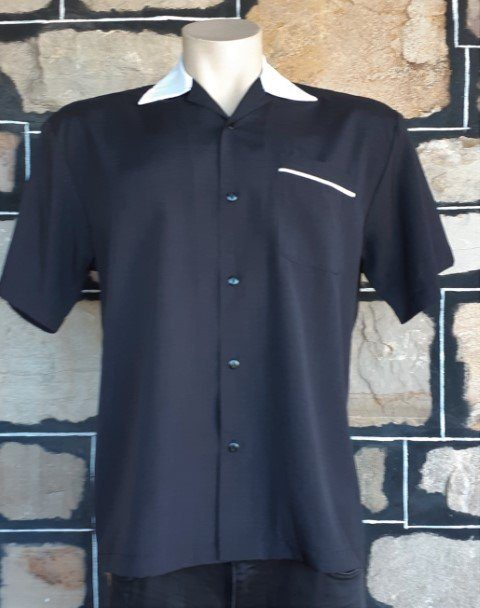 Bowling shirt, black with white collar & piping trim & action back, by 'Steady Clothing', USA