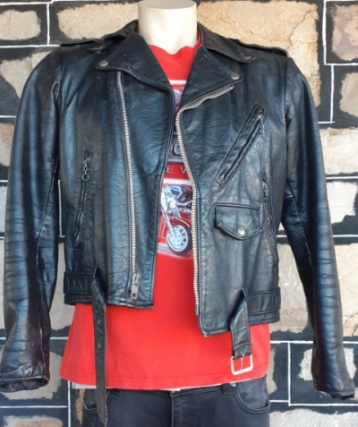 Vintage leather biker jacket by 'The Leather Shop', USA for Sears, polyester quilted lining, size L