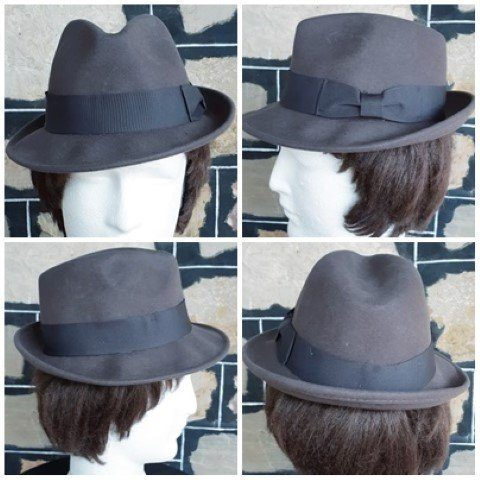 Fedora, wool felt, Grey, Petersham trim by 'Avenel Hats of Melbourne
