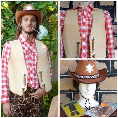 Cowboy Costume, shirt, vest, hat, neck tie & toy guns, cotton/ leather/synthetic, size L-XL