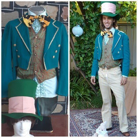 Mad Hatter Costume, includes Jacket, bow tie & Top Hat, cotton/ poly, Green, size L