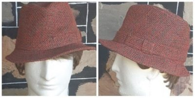 Trilby Hat, Paper Braid, cotton/polyester, rust/olive size 57cm.