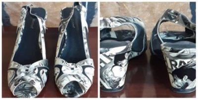 Patantent leather sling back sandal, by 'Blue Illusion', Monochrome, movie Print, size 41