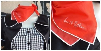 Neck square, red/ white trim, polyester by 'Trent Nathan'