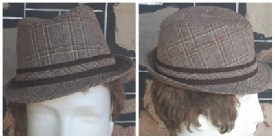 Trilby Hat by 'Avenel' brown checked, wool/polyester, 'New' size 54.5cm