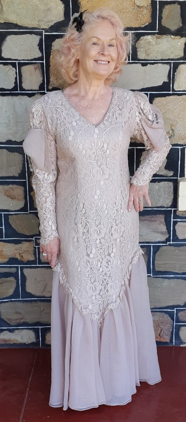 1980's Georgette & lace 'Titanic' inspired gown, by 'Celeste' size 12