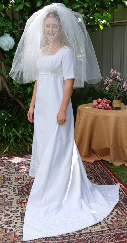 1960's Wedding dress and veil, white, polyester & tulle, size 10
