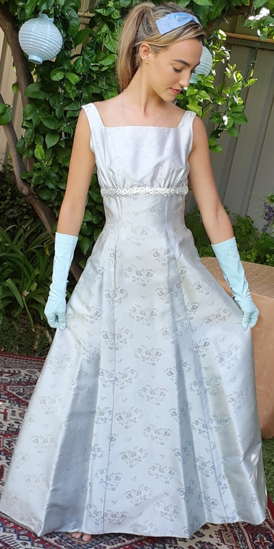 Princess Line, 1960's Evening Gown, embossed pale blue satin, size 8