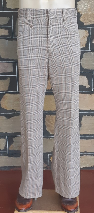 """1960's Checked Flares, polyester, cream/grey/olive, USA, by 'Haggar Slacks', size 35"""""""