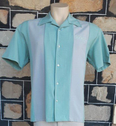 Bowling Shirt, 'Simple Times Button Up' by 'Steady Clothing' polyester, pale green/grey