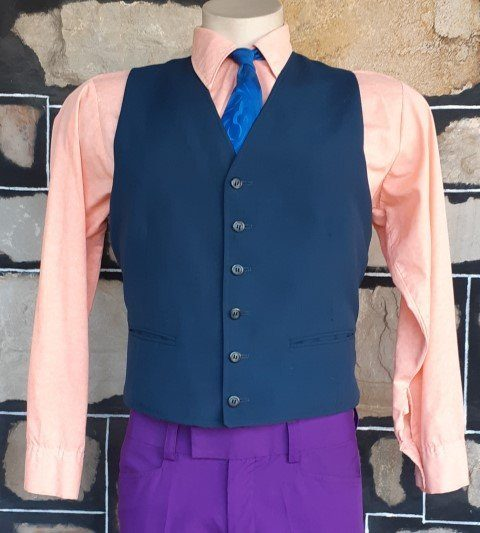 1960's Navy gaberdine/polyester waistcoat, USA, size M