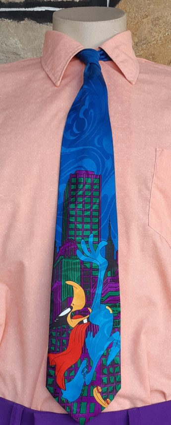 Novelty print Daffy Duck tie by 'Davenport' for Warner Bros , polyester.