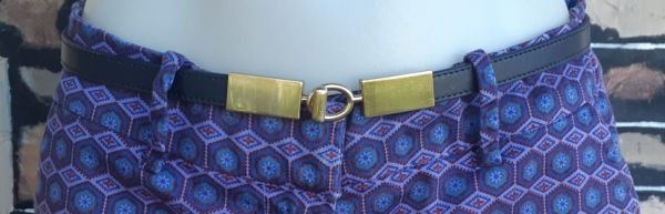 Leather Belt, black with copper clasp, by 'Saba' size S-L