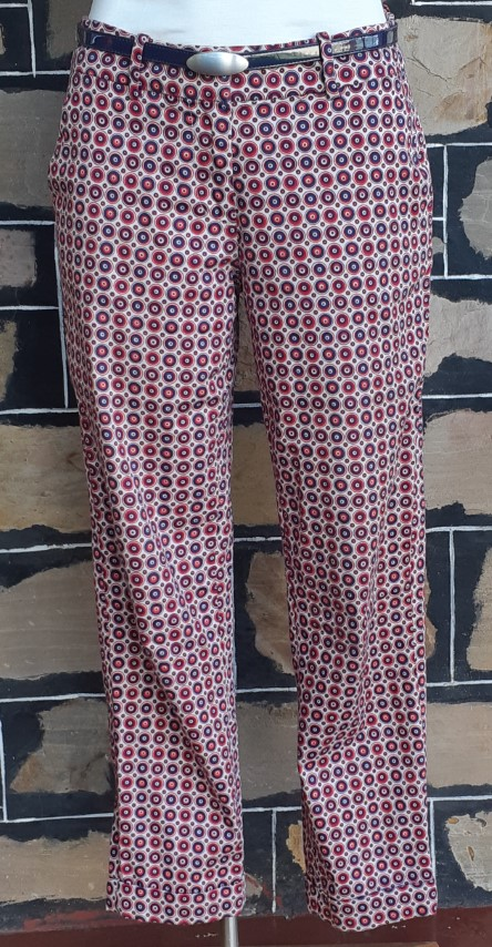 Hipster cut pants, 3/4 length, cotton/elastane, blue printed, by 'Skinny' .