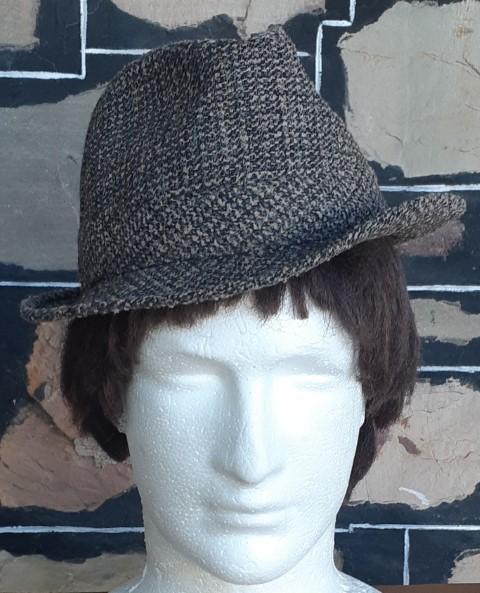 Vintage Wool Tweed Fedora, by 'Chic', size 56cm, S
