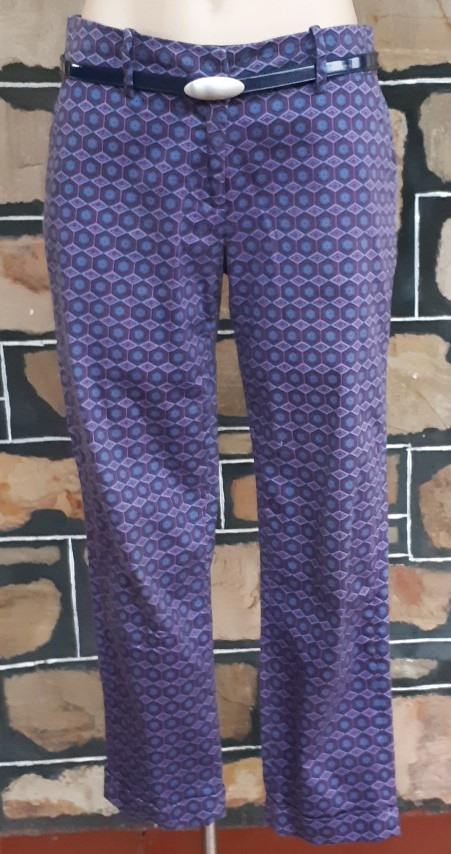 Hipster cut pants, 3/4 length, cotton/elastane, blue printed, by 'Skinny' size 10