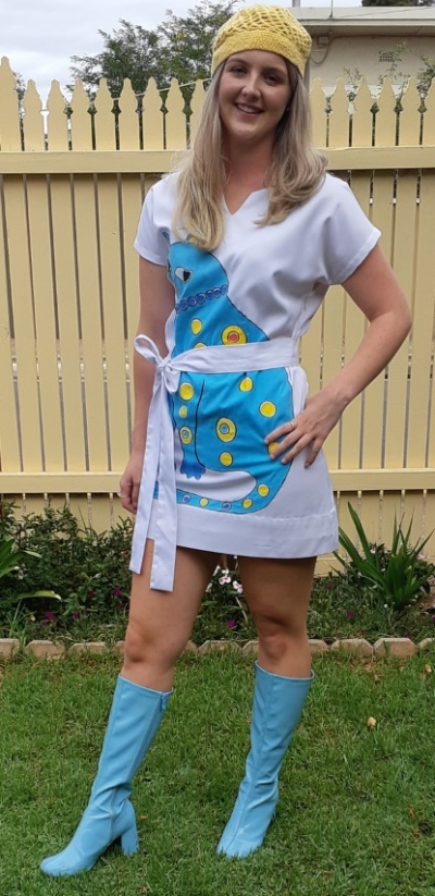 Abba blue 'Cat' inspired costume mini dress, white, cotton/polyester.