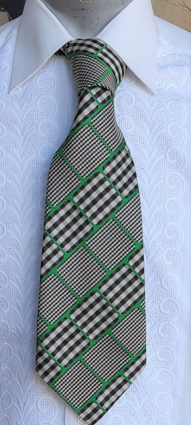 1970's Extra wide tie, green/brown/taupe check, by 'Whitmont'