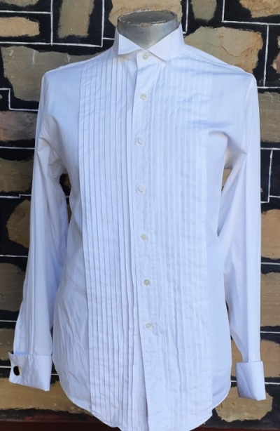 Vintage Winged tipped white dinner shirt, USA, 100% cotton by 'Brooks Brothers', size XL-2XL