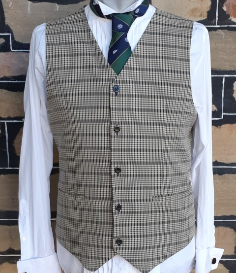 Checked waistcoat, taupe/brown/black, polyester, size L