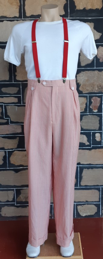 "Pinstriped wide legged trousers, front pleat, cuffed, red/cream, by 'Ranieri Uomo', size 36"" + red braces"