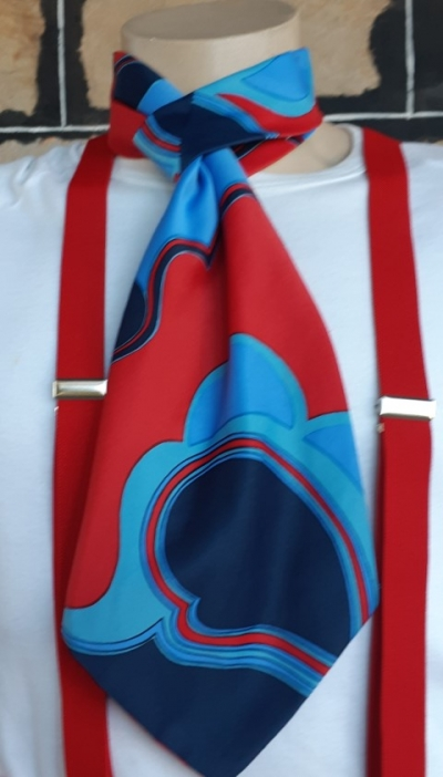 Cravat, 1960's, polyester & cotton, red/blue/navy